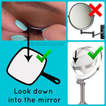 Applying False Eyelashes Tips Mirror