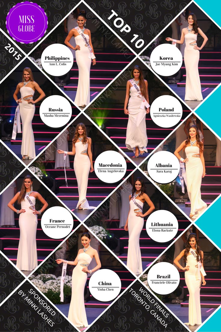 Miss Globe 2015 Finals Top 10 Winners